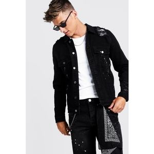 Black Distressed Denim Jacket Paint Splatter Small